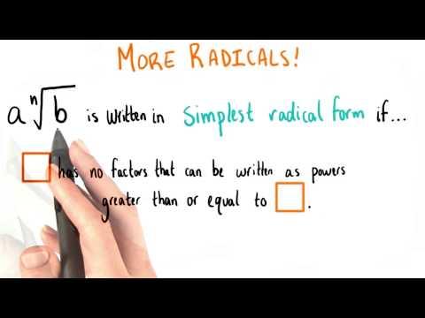 Simplest Radical Form - College Algebra thumbnail