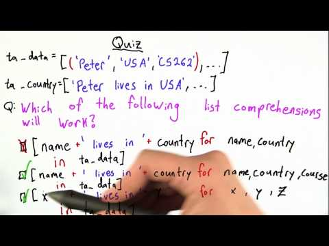 List Comprehensions 2 Solution - Design of Computer Programs thumbnail
