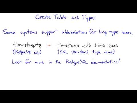 Create Table and Types - Intro to Relational Databases thumbnail