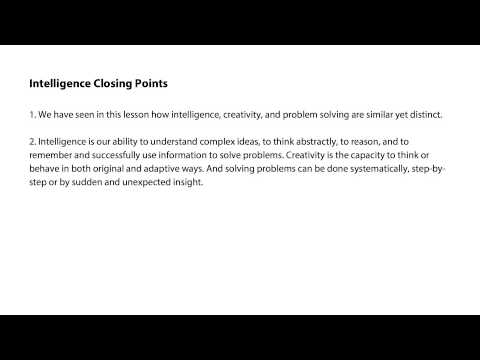 Intelligence closing points - Intro to Psychology thumbnail