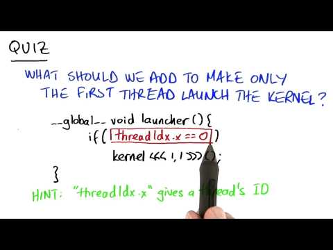How Make Only the First Thread Launch a Kernel - Intro to Parallel Programming thumbnail