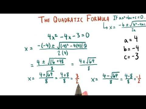 Using the Quadratic Formula - College Algebra thumbnail