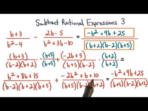 Subtract Rational Expressions Practice 3 - Visualizing Algebra thumbnail