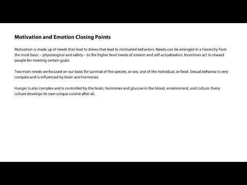 Motivation and emotion closing points - Intro to Psychology thumbnail