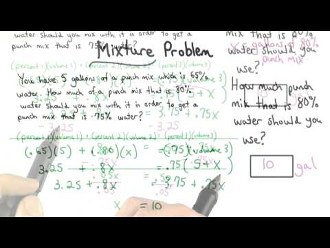Mixture Problem Solved ma006 lesson 4.4 thumbnail