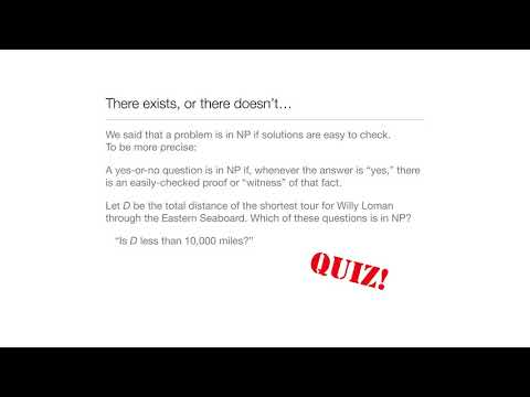 Computation in Complex Systems : P versus NP : Existence & Nonexistence : Traveling Salesperson Quiz thumbnail